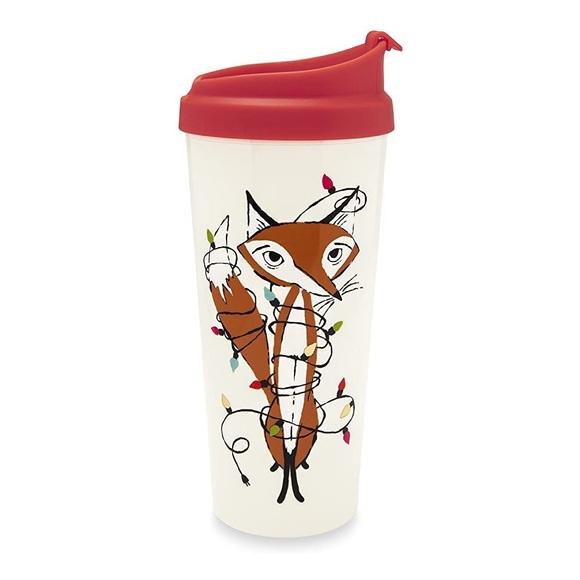 🆕 Kate Spade 16oz Travel Mug Tumbler Fox